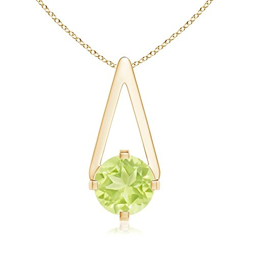 Flat Prong-Set Solitaire Peridot Triangle Pendant Necklace for Women in 14K Yellow Gold (6mm Peridot) (Peridot Pendant Triangle)