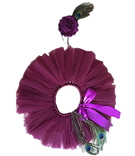 Pinbo Newborn Baby Girls Photo Prop Peacock Feathers Headband Tutu Skirt