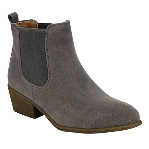 Chelsea Grey Style Pull On Womens Plain Booties Beston DE03 Ankle EC6qwEg
