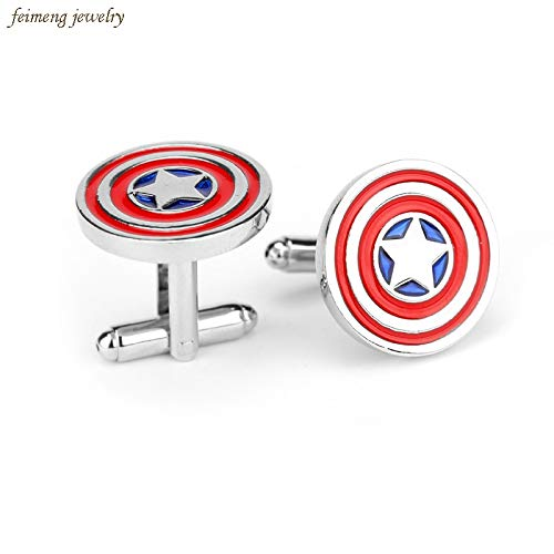 FITIONS - Movie Captain America Cufflinks Red Color Novelty Superhero Design Round Resin Cuff Links Button