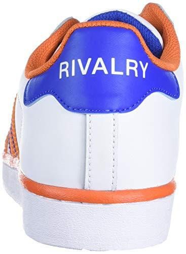 adidas Originals Men's Superstar Shoes Sneaker, Solid Grey/Orange/Blue, 4.5