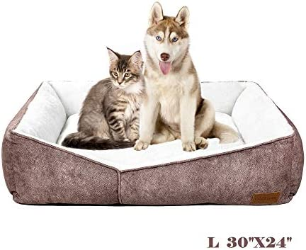 Coohom Rectangle Washable Dog Bed,Warming Comfortable Square Pet Bed Simple Design Style,Durable Dog Crate Bed for Medium Large Dogs