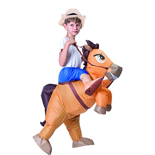 Spooktacular Creations Inflatable Cowboy Riding a Horse Air Blow-up Costume - Child Size Fits 4-8yr Old (42