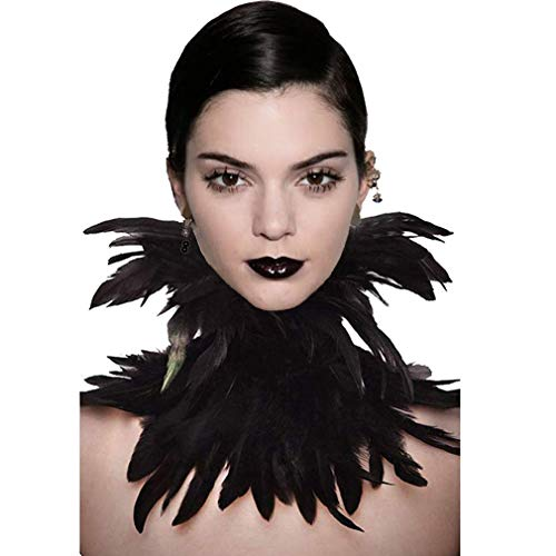 Drag Queen Halloween Ideas (Gothic Black Feather Cape Shawl with Choker Collar for Halloween)