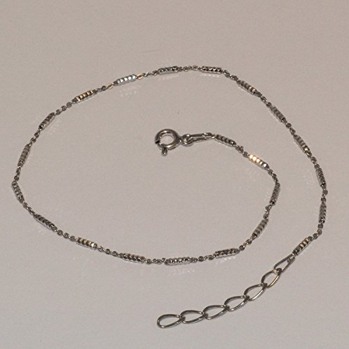 (2-0121-e5 Sterling Rhodium Plated Cubes Anklet 10