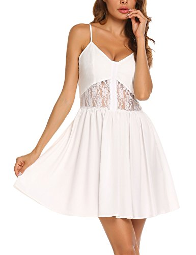 SE MIU Women's Summer Beach A Line Lace Casual Flared Sleeveless Dresses