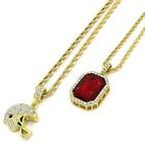 - Bodybasic - Mens 14k Gold Plated Sm Football Helmet & Red Ruby w Rope Chain (3mm24