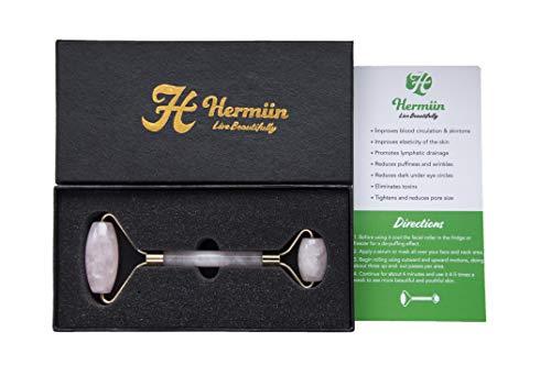 Improved Certified Rose Quartz Roller | Durable Stainless Steel Frame | Anti Aging Massager | Natural Face and Skin Massage for Wrinkels | Better Skin | Hermiin