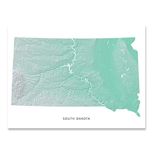 (South Dakota State Map Print, SD, Aqua Landscape Art)