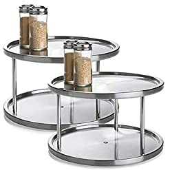 Kitchen 2 Tier 2 PK Lazy Susan – Stainless Steel 360 Degree Turntable – Rotating 2 Level Tabletop Stand for Your Dining Table… lazy susans