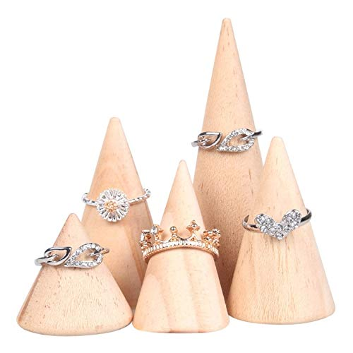Chris.W 5Pcs Wood Ring Display Finger Jewelry Holder Showcase Display Stands, Cone Shape Organizer, 5 Different Size ()