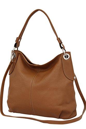 AMBRA Moda Sac à main femme Sac à bandoulière sac à bandoulière sac fourre-tout cuir véritable GL012 Cognac