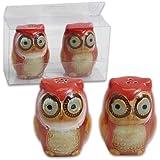 Natures Owl 2 Pc Salt & Pepper Set - Red