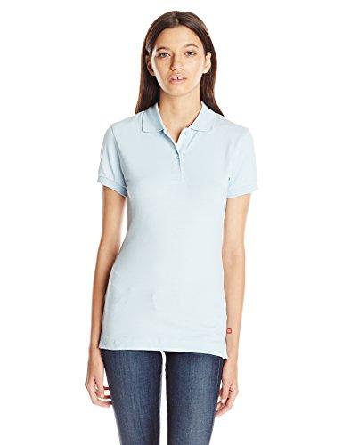 Baby Pique Polo - Dickies Girl Juniors Short Sleeve 2 Button Pique Polo,Baby Blue,Medium
