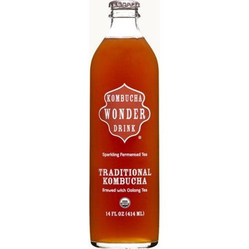 Kombucha Wonder Drink Organic Beverage, Traditional, 14 Ounce (Pack of 12)