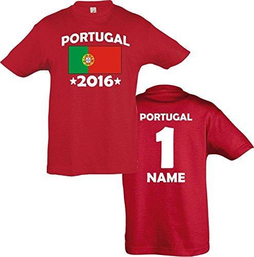 ShirtInStyle Kinder-Shirt Portugal 2016 Ländershirt mit Wunschnamen und Nummer diverse Farben, Farbe rot, Größe 116