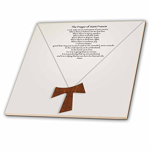 Cross Tile Coaster (3dRose ct_110053_6 The Prayer of Saint Francis on a Creme Beige Background with a Simple Wood Tau Cross on a Chain Glass Tile, 6-Inch)