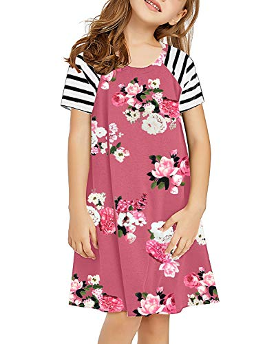 GRAPENT Girls Casual Pink Floral Ruffle Short Sleeves Loose Tunic Shirt Dress X-Large (10-11 Years) -