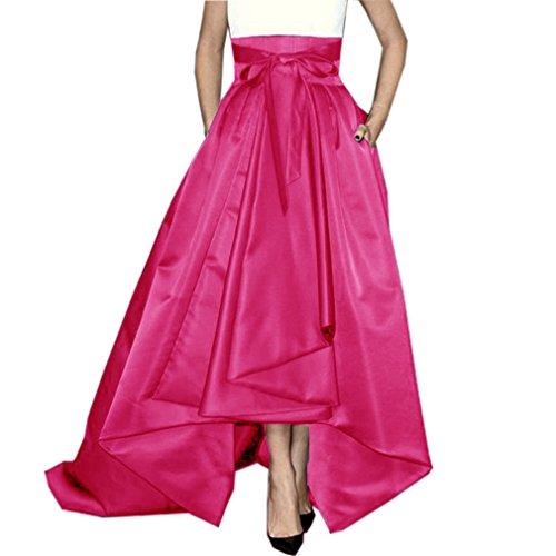 Lisong Women Floor length High Low Bowknot Belt Taffeta Party Skirt 4 US Hot Pink