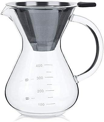Lcjtaifu Vaso de Filtro de cafetera de Vidrio con Escala for hogar ...