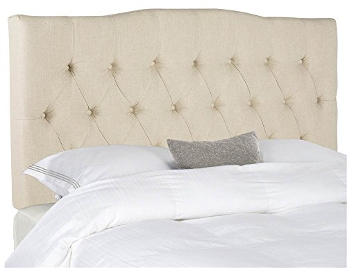 Safavieh Mercer Collection Axel Off-White Hemp Linen Tufted Headboard King