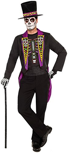 Forum Novelties Men's Day Of The Dead Formal Costume, Black, (Mens Day Of The Dead Halloween Costume)