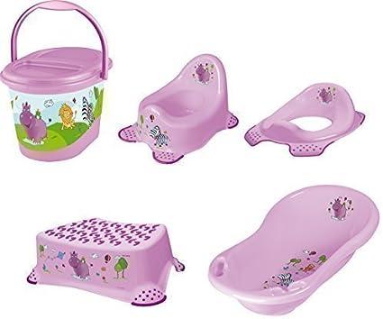 Toilet Seat Bath Seat Set of 6 Hippo White Tub XXL Pot Stool Bucket