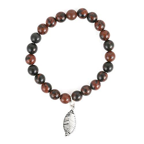 (Aatm Natual Healing Gemstone Mahogany Obsidian Leaf Charm Bracelet for Healing and Meditation (Beads Size - 7-8 mm))