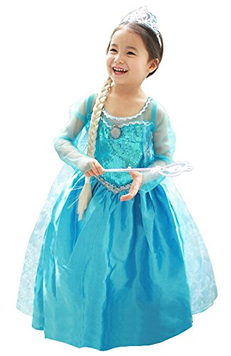 About Time Co Princess Girls Snow Queen Dress Costume Party Outfit (4-5 (Frozen Outfits For Kids)