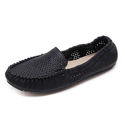 Los Planos Ocasionales Clásicos De Las Mujeres - Resbalón Suave En Los Zapatos - Calzado Cómodo 218-11 Negro