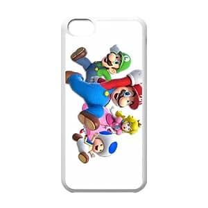 Funda iPhone 5C Teléfono Caso Mario White Party B8K3TS plástico caja del teléfono celular para chicos