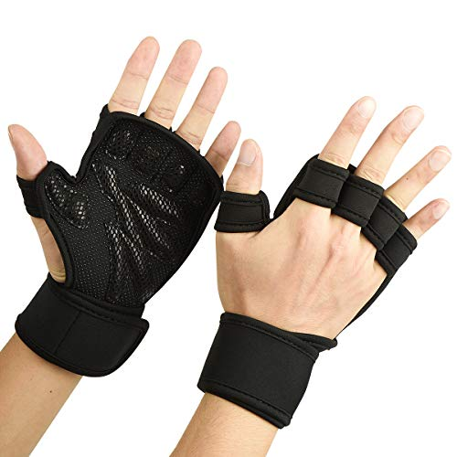 ADiPROD Training Gloves, Sports Wrist Support for Fitness, WOD, Weightlifting, Gym Workout, Silicone Padding, Anti-Slip Strong Grip, Men & Women, Choose The Right Size (Black, Small)