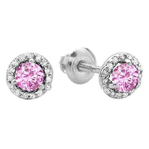 - Dazzlingrock Collection 0.50 Carat (ctw) 14K Round Pink Sapphire & White Diamond Ladies Halo Stud Earrings 1/2 CT, White Gold