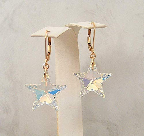 Sparkly Aurora Borealis Star Crystal Gold Filled Leverback Earrings Made With Swarovski Gift Idea