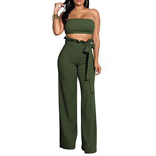 - 2 Piece Wide Leg Outfits for Women Long Pants with Bandage Lace Up+Sexy Crop Top ArmyGreen