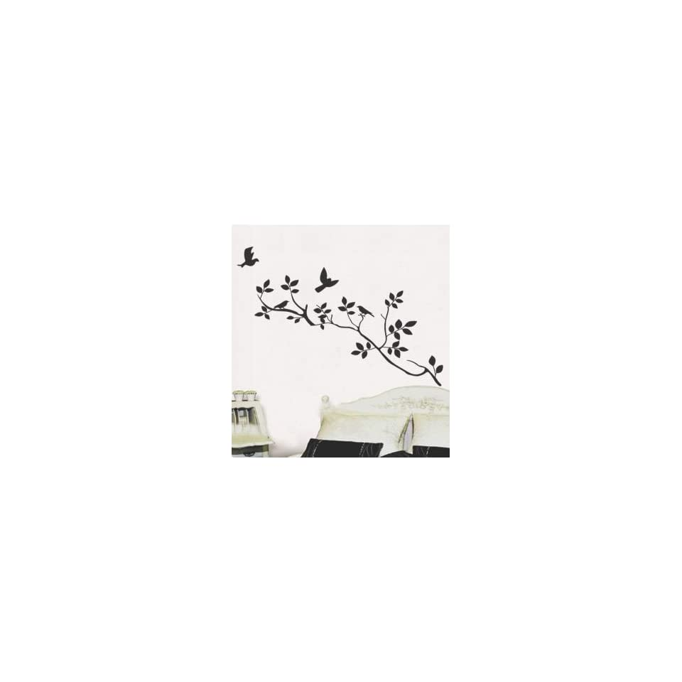 Modern House Spring Birds on the Tree Branch removable Vinyl Mural Art Wall Sticker Decal