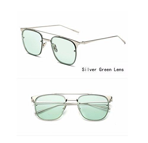 Price comparison product image Women / Men Fashion sunglasses square cat eye clear lenses vintage wayfarer club master metal frame (Silver,  Red)