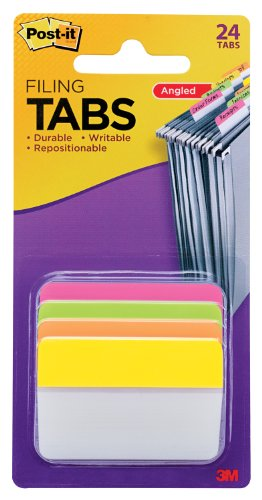 Post-it Tabs, 2 in. Angled Solid, Assorted Bright Colors, Durable, Writable, Repositionable, Sticks Securely, Removes Cleanly, 6 Tabs/Color, 4 Colors, 24 Tabs/Pack, (686A-PLOY)