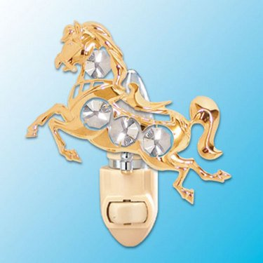 24k Gold Horse Night Light - Clear Swarovski Crystal (Plated Gold Justice)