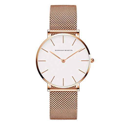 (Dovkumo Ultra Thin Quartz Stainless Steel Mesh Band Women's Watch (Women's, Case Diameter 36mm, White Dial,Rose Gold-Tone Band 1))