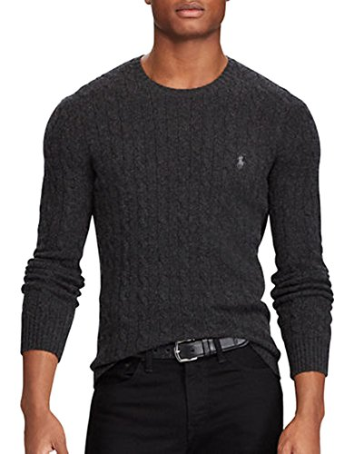 Ralph Lauren Wool Blend (Polo Ralph Lauren Men's Cable-Knit Wool and Cashmere Blend Sweater (Dark Granite Heather, M))