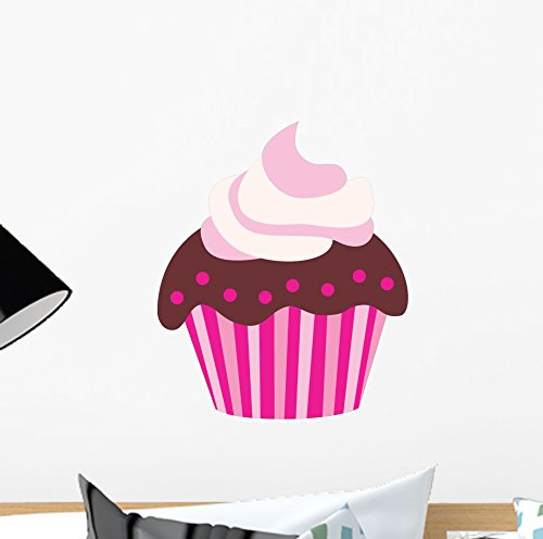 Wallmonkeys WM323803 Cute Pink Chocolate Cupcake Wall Decal Peel and Stick Graphic (12 in H x 8 in - Wall Stickers Cupcake