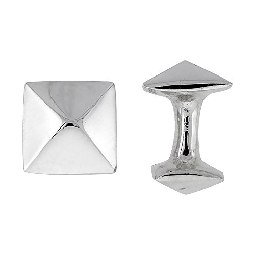 Sterling Silver Cufflinks Geometric (Sterling Silver Square Cufflinks Raised Center Swivel Bar, 5/8 inch wide)