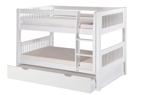 Camaflexi Mission Style Solid Wood Low Bunk Bed with Trundle, Twin-Over-Twin, Side Attached Ladder, White