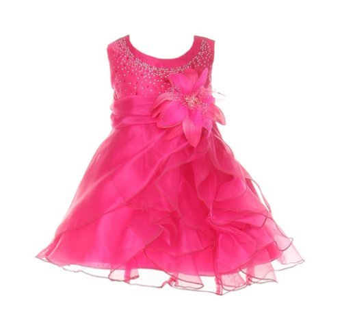 Cinderella Baby Dresses - Cinderella Couture Baby Girls Cascading Organza Dress Fuchsia Med 12M (B1101)