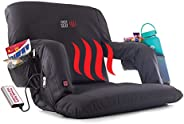 POP Design The Original Hot Seat, Heated Stadium Bleacher Seat, Reclining Back and Arm Support, Thick Cushion,