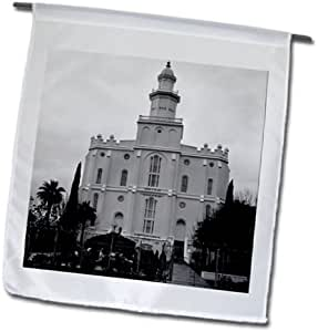 Jos Fauxtographee Temple - A Black and white of the St. George Temple at Christmas time - 12 x 18 inch Garden Flag (fl_99844_1)