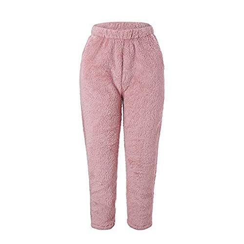 (Geetobby Women Plush Fleece Pants Solid Color Winter Warm Loose Trousers Casual)