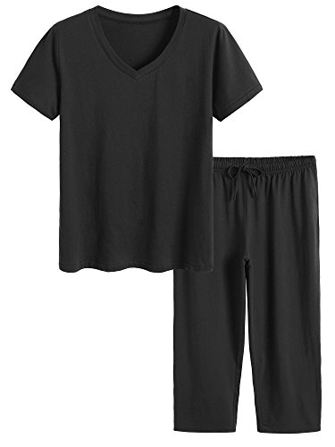 n Pajamas Set Tops & Capri Pants Sleepwear XL Black (Cotton Capri Set)