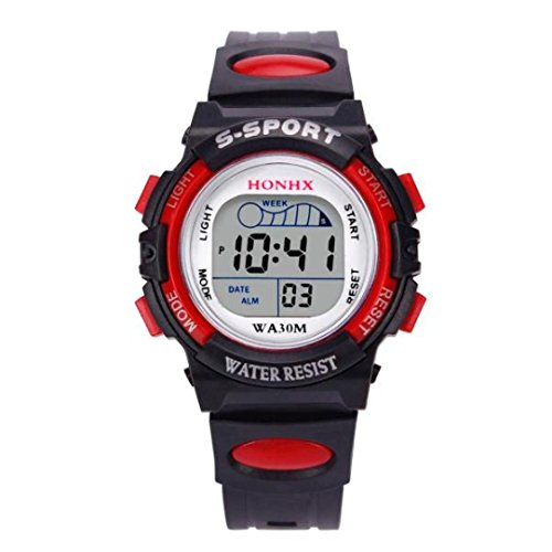 Clearance! Napoo Waterproof Children Boys Digital LED Sports Watch Kids Alarm Date Watch Gift (Red)